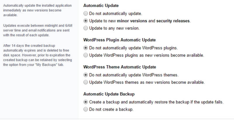 DirectAdmin offers the option to carry out updates automatically.